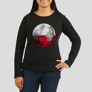 Poland Football Women's Long Sleeve Dark T-Shirt