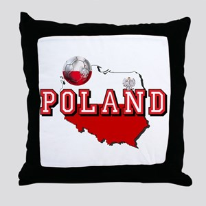 Polish Flag Map Throw Pillow