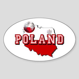 Polish Flag Map Sticker (Oval)