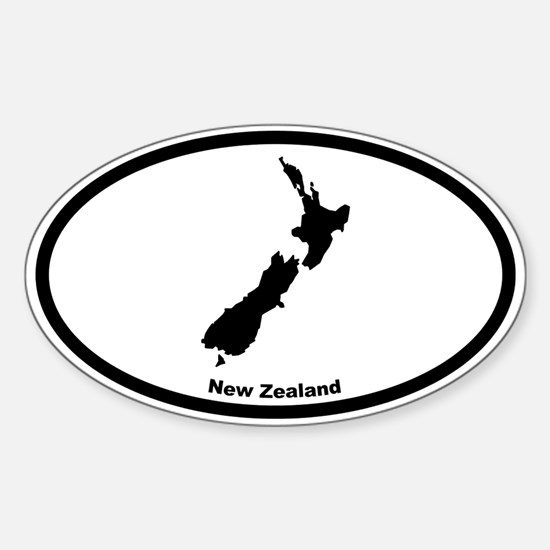 New Zealand Outline Oval Stickers