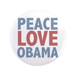 "Peace Love Obama President 3.5"" Button (100 pack)"
