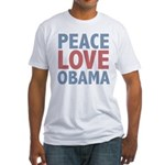 Peace Love Obama President Fitted T-Shirt