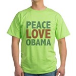Peace Love Obama President Green T-Shirt