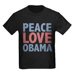 Peace Love Obama President Kids Dark T-Shirt