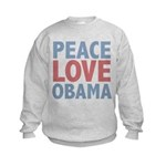 Peace Love Obama President Kids Sweatshirt