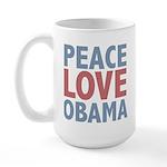 Peace Love Obama President Large Mug