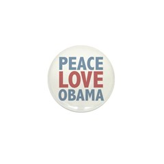 Peace Love Obama President Mini Button (100 pack)