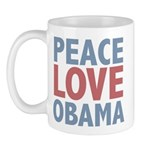 Peace Love Obama President Mug