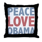 Peace Love Obama President Throw Pillow