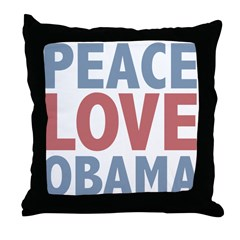 Peace Love Obama President Throw Pillow