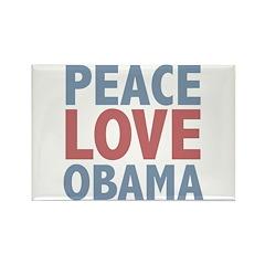 Peace Love Obama President Rectangle Magnet (10 pa