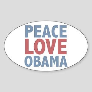 Peace Love Obama President Oval Sticker (10 pk)