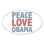 Peace Love Obama President Oval Sticker (10 pk)