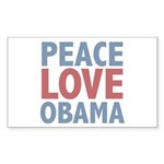 Peace Love Obama President Rectangle Sticker 50 p