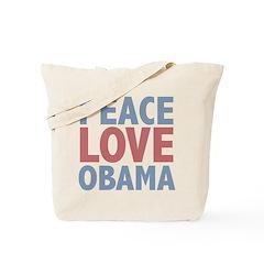 Peace Love Obama President Tote Bag