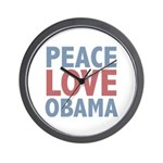 Peace Love Obama President Wall Clock