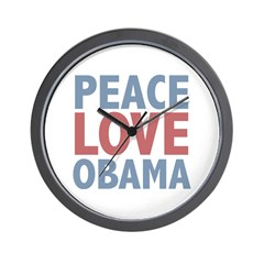 Peace Love Obama President Wall Clock
