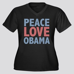 Peace Love Obama President Women's Plus Size V-Nec