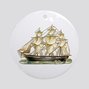 Father's Day Classic Tall Ship Round Ornament
