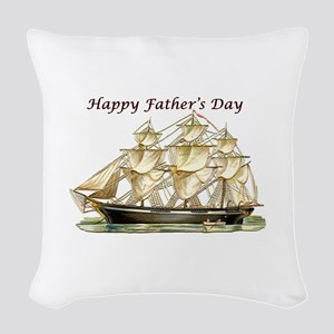 Father's Day Classic Tall Ship Woven Throw Pil