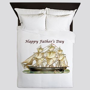 Father's Day Classic Tall Ship Queen Duvet