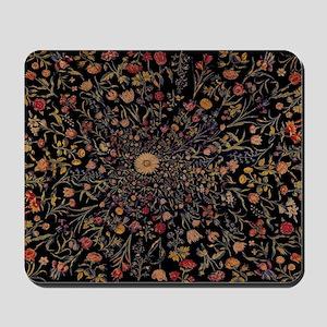 Medieval Flowers on Black Mousepad