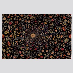 Medieval Flowers on Black 4' x 6' Rug
