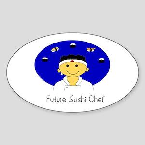 Future Sushi Chef Oval Sticker