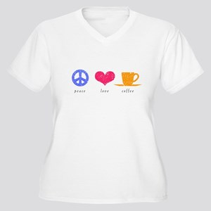 Peace, Love and Coffee Women's Plus Size V-Neck T-