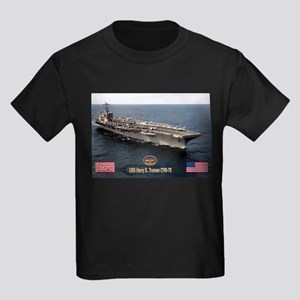 USS Truman CVN-75 Kids Dark T-Shirt