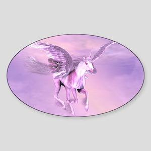 Winged Unicorn Oval Sticker