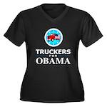 Truckers for Obama Women's Plus Size V-Neck Dark T