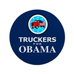 """Truckers for Obama 3.5"""" Button"""