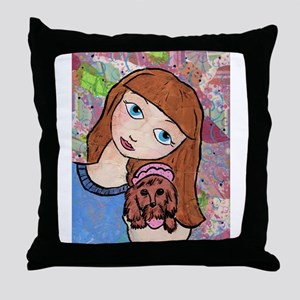 Kritter Girl and Baby - Dog Throw Pillow