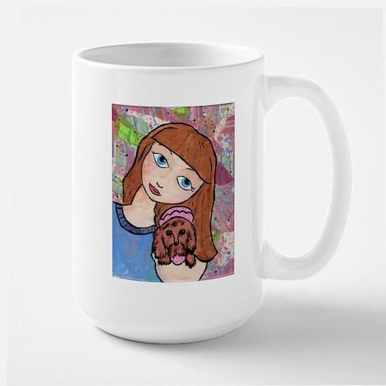 Kritter Girl and Baby - Dog Large Mug