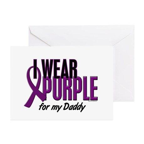 I Wear Purple For My Daddy 10 Greeting Cards (Pk o
