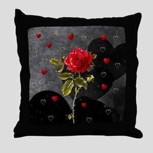 Red Rose Black Hearts Throw Pillow