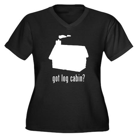 Log Cabin 3 Women's Plus Size V-Neck Dark T-Shirt