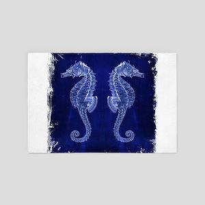 nautical beach blue seahorse 4' x 6' Rug