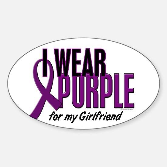 I Wear Purple For My Girlfriend 10 Oval Decal