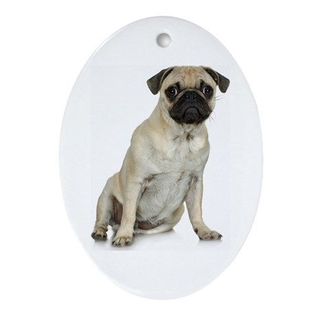 Fawn Pug Oval Ornament