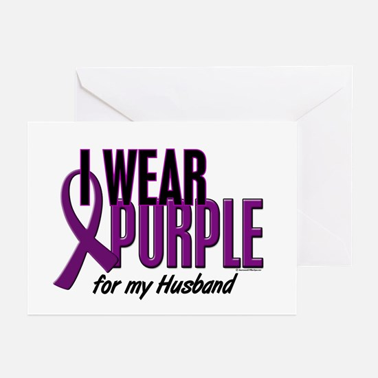 I Wear Purple For My Husband 10 Greeting Cards (Pk