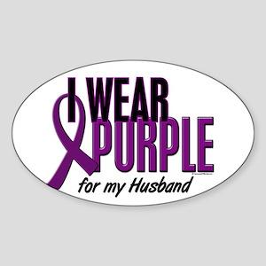 I Wear Purple For My Husband 10 Oval Sticker