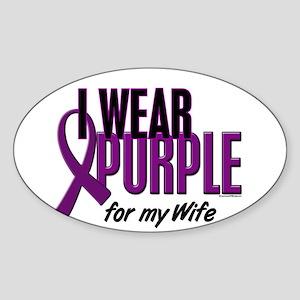 I Wear Purple For My Wife 10 Oval Sticker