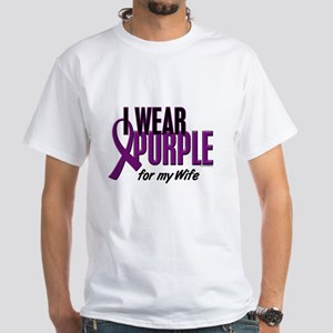 I Wear Purple For My Wife 10 White T-Shirt