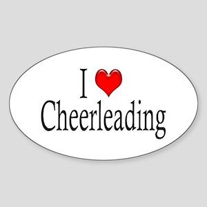I Heart Cheerleading Oval Sticker