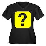 Question? Women's Plus Size V-Neck Dark T-Shirt