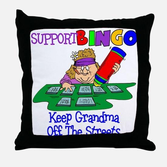 Support Bingo Funny Throw Pillow