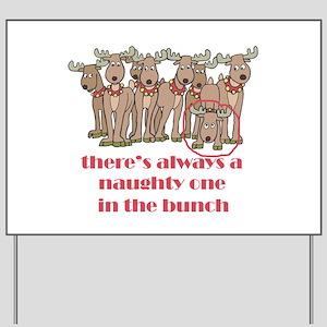 Naughty Reindeer Yard Sign