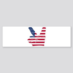 USA Peace Sign Bumper Sticker